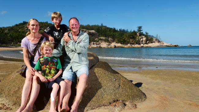 Amy and David Tolley with kids Matthew, 9, and Jack, 7, (front) of North East Victoria.