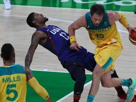 David Andersen barrelling USA Dream Team star Paul George in Rio. Picture: Adam Head