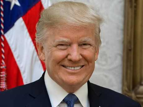 The White House released the extra smiley official portrait of President Donald Trump on Tuesday. Picture: White House via AP