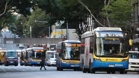 Brisbane buses in the CBD. Pic Peter Wallis