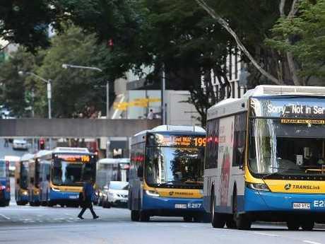 Brisbane buses in the CBD. Pic Peter Wallis