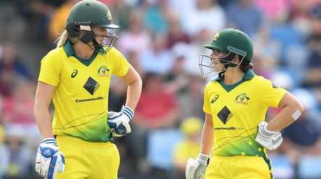 Ellyse Perry (left) and Nicole Bolton. Pic: AAP