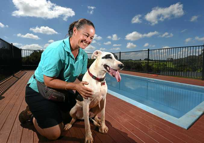 HAPPY DOG: Minnie relaxing by the doggie pool with Golden Paw Tregeagle Canine Health Retreat employee Donna Connolly.