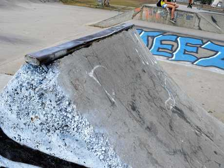 Damage to the skate park as photographed in July.