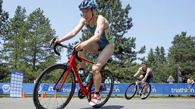CONTENDER: Gillian Backhouse competes in the the elite women's ITU World Triathlon Series in Edmonton.