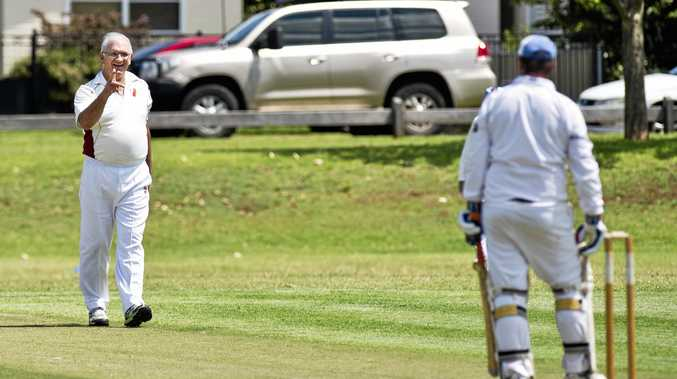 Ian Reimers takes the wicket of Darin McDermid in the Veterans cricket match last weekend.