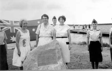 The monument erected at Military Jetty in 1991 to commemorate the 50th anniversary of the building and occupation of the defences by 2nd Air Troops on Bribie Island in December 1947 after the entry of Japan into the war.