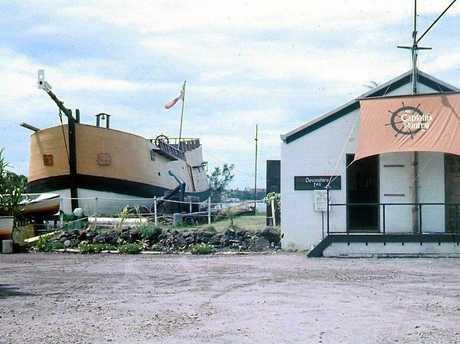 Endeavour Replica, Landsborough Parade, Golden Beach, Caloundra, ca 1976.