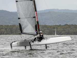Fast and furious flying hulls action at Lake Cootharaba
