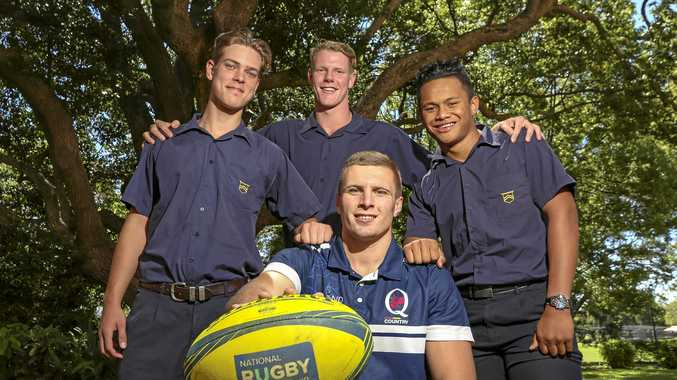 Toowoomba Grammar School students (back, from left) Tom Cole, Will Chaffey and Tim Faingaanuku with Queensland Country's Phil Potgieter (front).