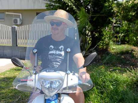 Larry Murchie on his scooter.