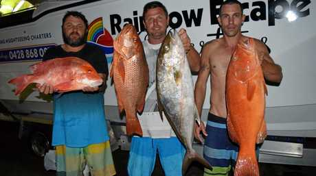 TEAM: The crew on Rainbow Escape Charters did very well off Double Island Point recently, with quality reef fish including a red emperor, mangrove jack, amberjack and a nice coral trout.