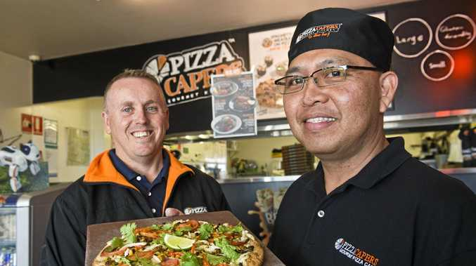 VEGAN VARIETY: Pizza Capers franchisees Mark Marsh (left) and Silve Canda with their new vegan pizza.