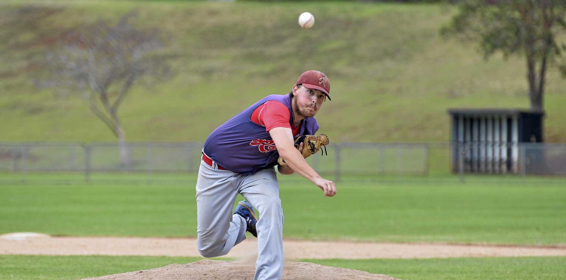 Nathan Drewes on the mound for Toowoomba Rangers against Pine Hills in their round-two clash.