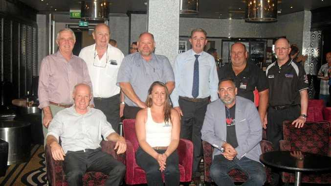 HERE WE GO: At the Lismore Speedway season launch yesterday are, back row from left, Richard Mackney, David Lander, Andrew Bing, Kevin Hogan, Paul O'Neill, Greg Worling; front row, Andrew Gordon, Hayley Lewis, Jason Mumford.