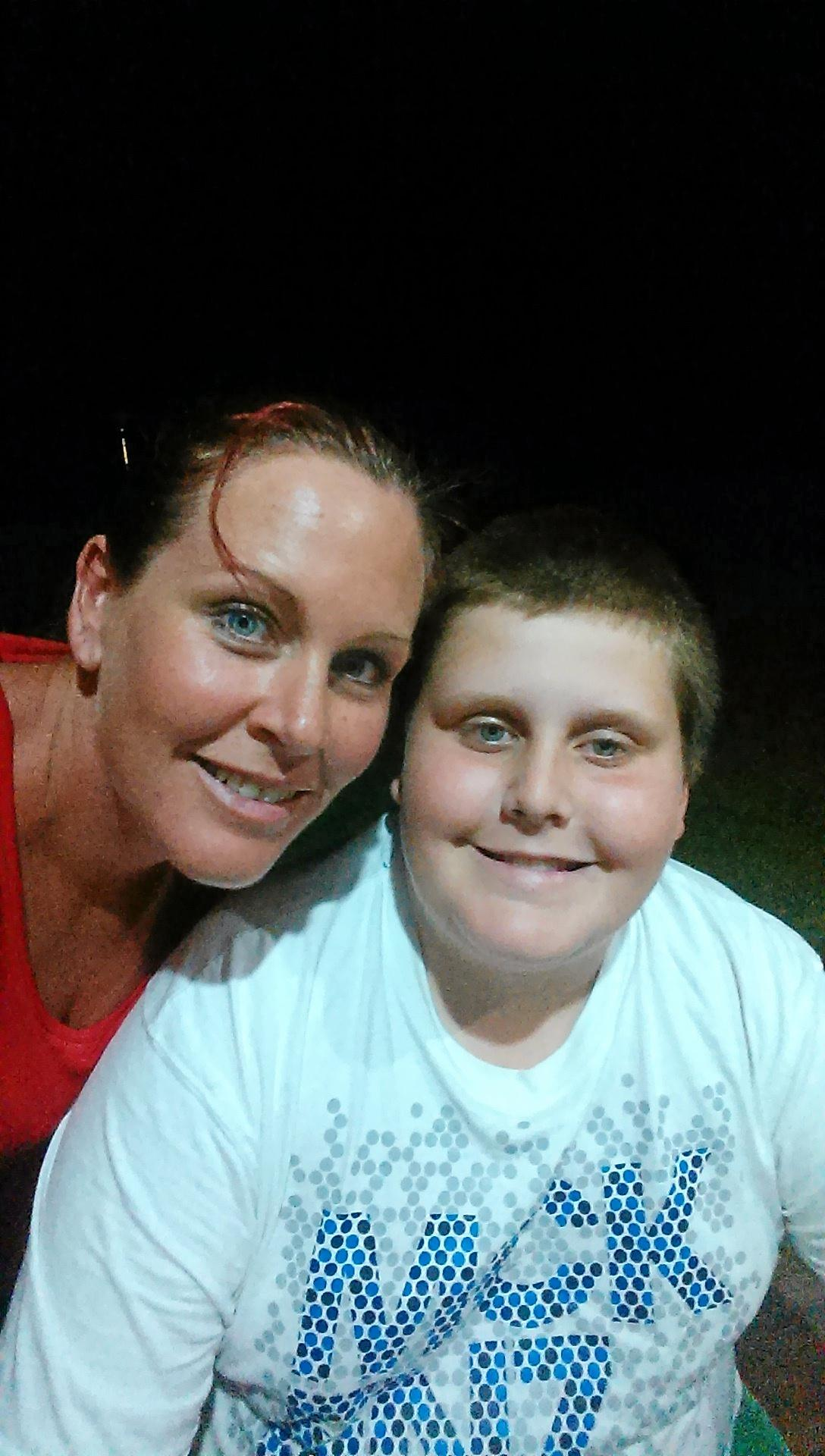 SUPPORT: Ethan Young with his mum Jacinta Dickenson.
