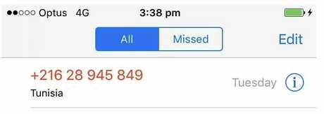 One of the scam calls from Tunisia.