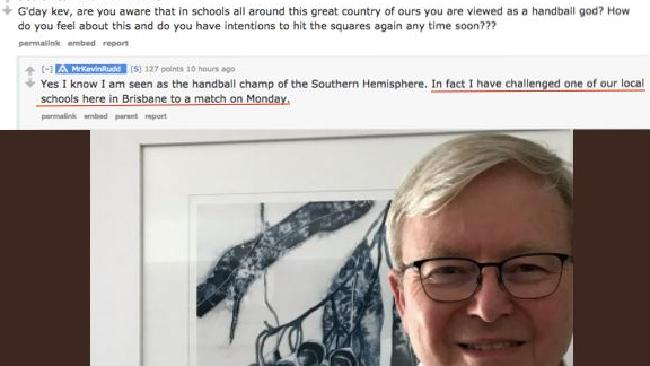 Kevin Rudd announced his plan to return to the handball court over social media site Reddit. Picture: Handball Memes/Facebook