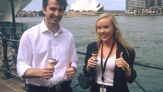 Two NSW Young Liberals show off their ice creams.