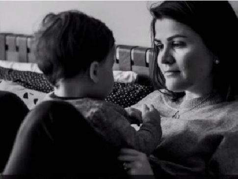 Sara Chivers and her young son Alfie have both been diagnosed with brain cancer within months of each other, in an extremely rare case. Picture: Screengrab/7:30.