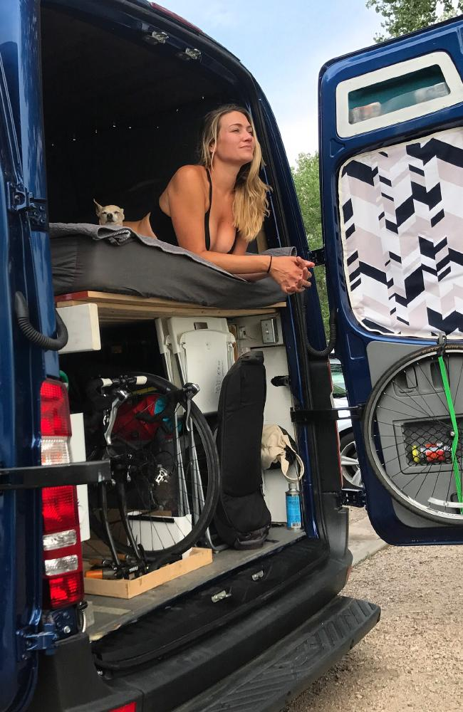 Mike, 34, and Jessica, 33, were backpacking in Grand Teton National Park when they noticed a converted Sprinter van for sale. Picture: Media Drum World/australscope