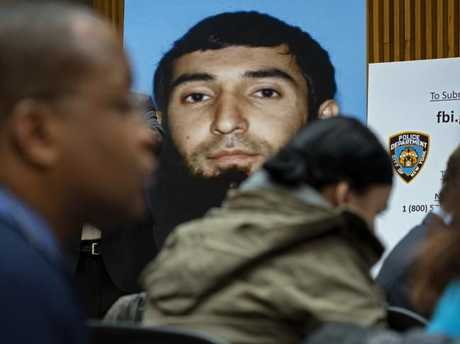 A photo of Sayfullo Saipov is displayed at a news conference at One Police Plaza Wednesday, Nov. 1, 2017, in New York. Picture: AP.