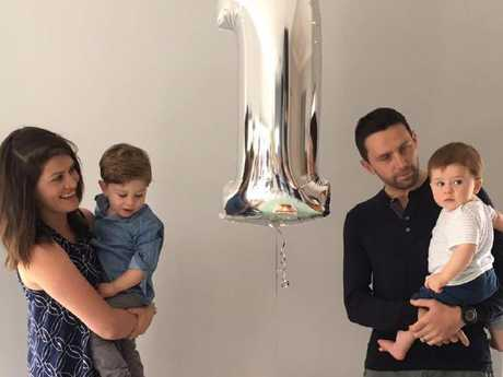 Sara Chivers with her husband Leigh and young sons, Hugh and Alfie. Picture: Facebook