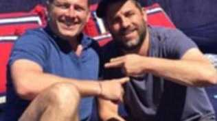 Karl Stefanovic and Brett Ratner lounging on James Packer's yacht.  Picture: Supplied