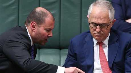 Minister for the Environment and Energy Josh Frydenberg and PM Malcolm Turnbull. Picture: Kym Smith