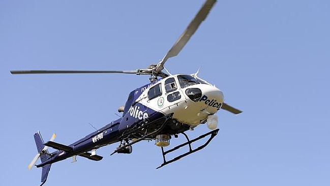 Police used a helicopter to track an allegedly stolen vehicle.