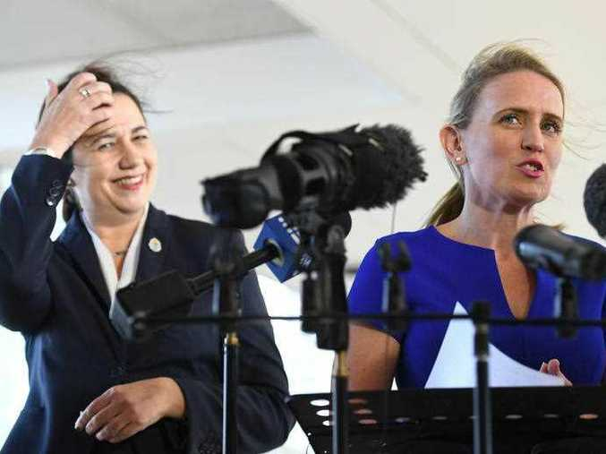 Education Minister Kate Jones, right, pictured with Queensland Premier Annastacia Palaszczuk earlier this year.