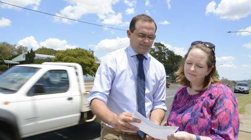 Toowoomba South MP David Janetzki with Glenvale mum Melissa Greensill.