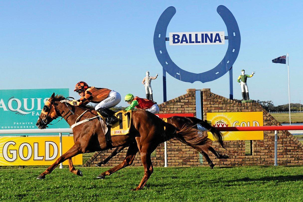 Brisbane jockey Tegan Harrison rode Cashed Up to a win in the $65,000 Ballina Cup