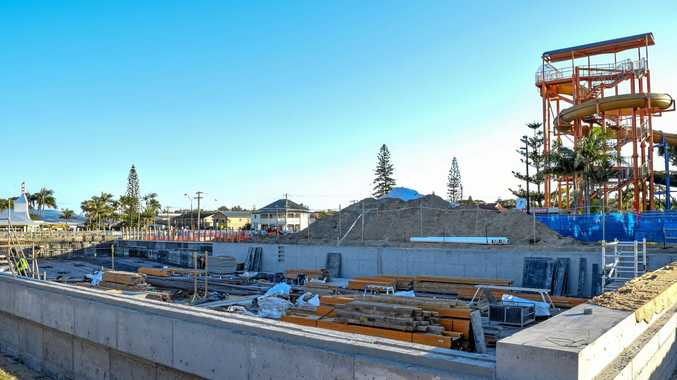 Construction works at the Ballina Memorial Swimming Pool.