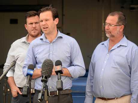 Senator Matt Canavan With LNP candidate for Keppel Peter Blundell and LNP candidate for Rockhampton Douglas Rodgers (left).