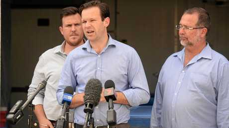 Senator Matt Canavan With LNP candidate for Keppel Peter Blundell and LNP candidate for Rockhampton Douglas Rodgers (left).