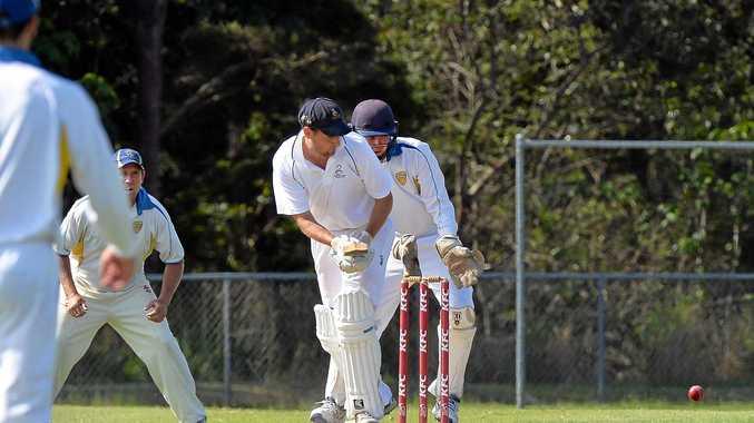 SHOT: Maroochydore's batsman Adam Thornton.
