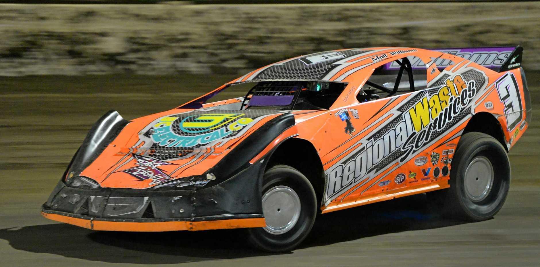 Matt Williams competing in a Super Sedan heat at the Rockhampton Speedway on Saturday night.