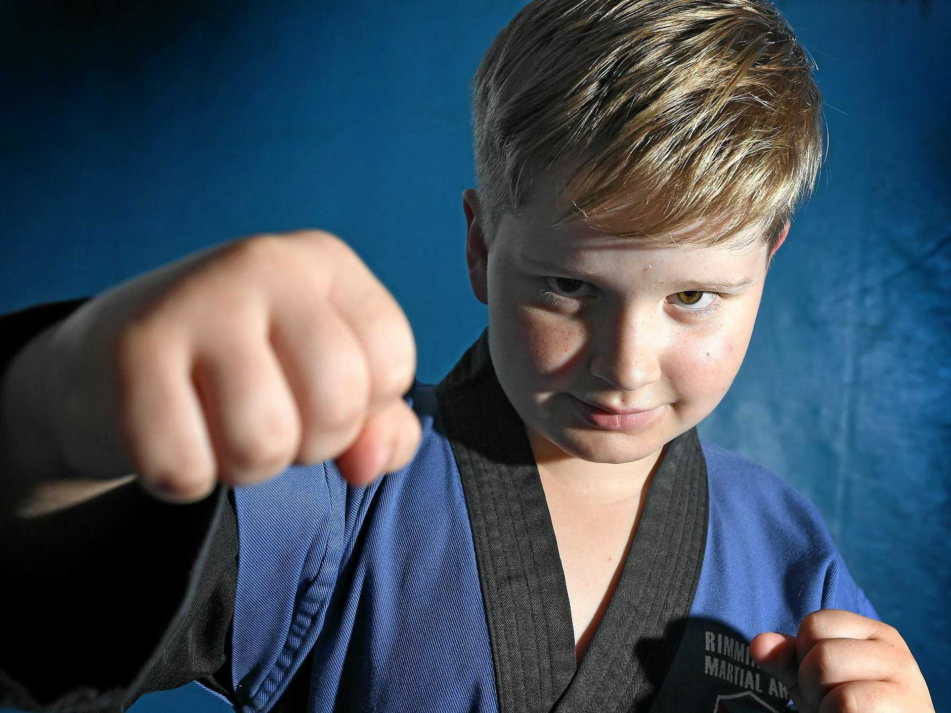 KARATE KID: Gympie's Riley Merrell is now a dual world champion after his wins at the International Sport Karate Association World Cup in Sydney in October.