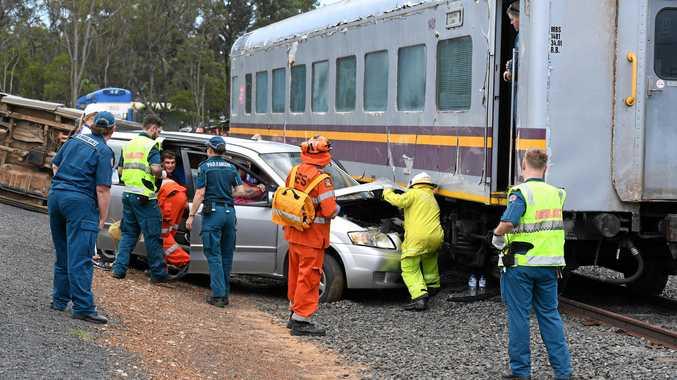 A simulated emergency crash between a van and train at CQUniversity Bundaberg Crash Lab.