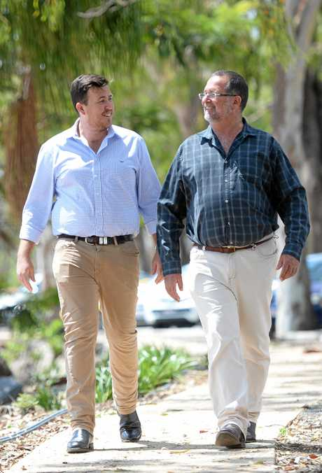 LNP candidates for Rockhampton Douglas Rodgers (left) and Keppel, Peter Blundell support the Rookwood Weir.