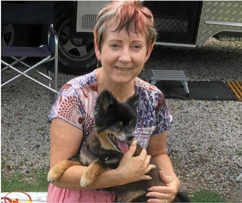 Pet-sitter Debbie Taylor with Rocky, a 19-year-old Pomeranian cross who requires special care.