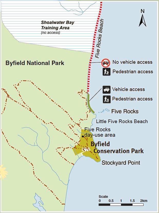 Byfield Natioanl Park, Five Rocks Beach access map.