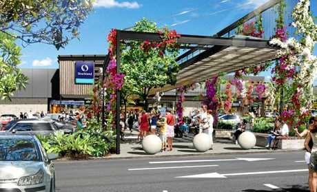 An artist's impression shows the outside of Stockland's proposed Birtinya shopping centre at the intersection of Kawana Way and Lake Kawana Boulevard.