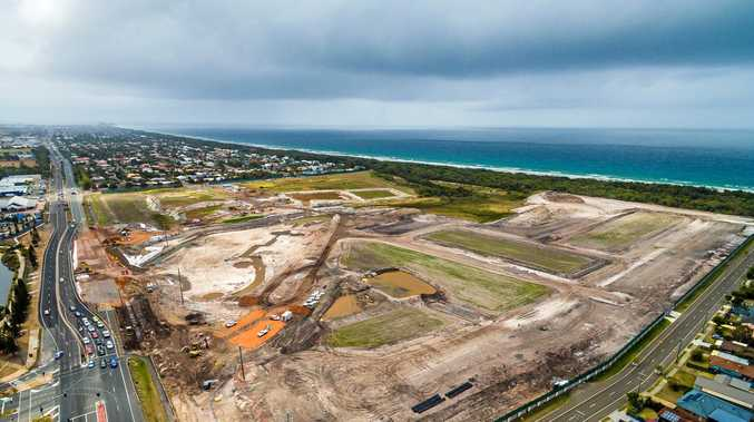 FROM ABOVE: Earthworks are under way at Bokarina Beach.