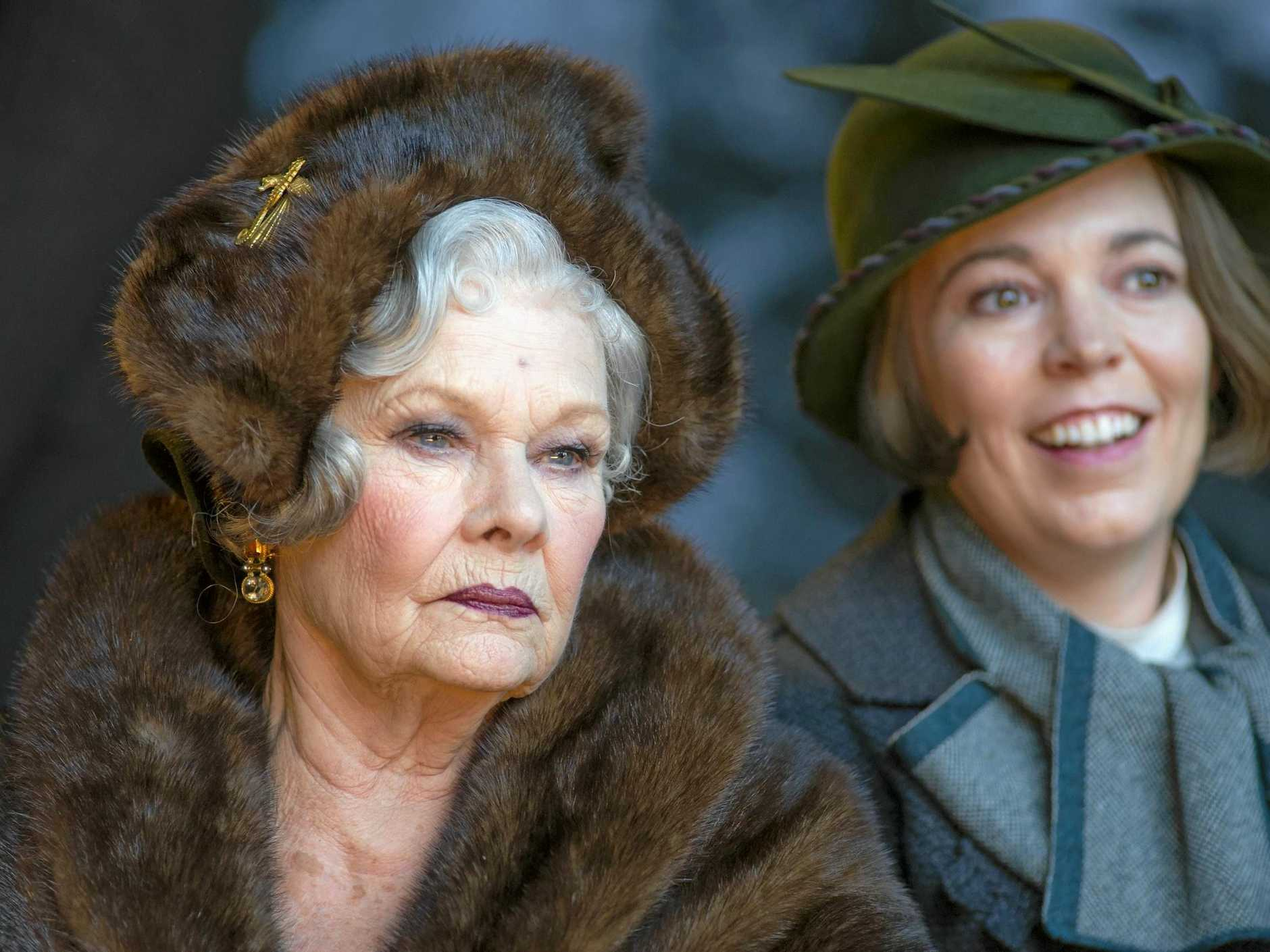 Judi Dench and Olivia Colman in a scene from the movie Murder on the Orient Express. Supplied by Twentieth Century Fox.
