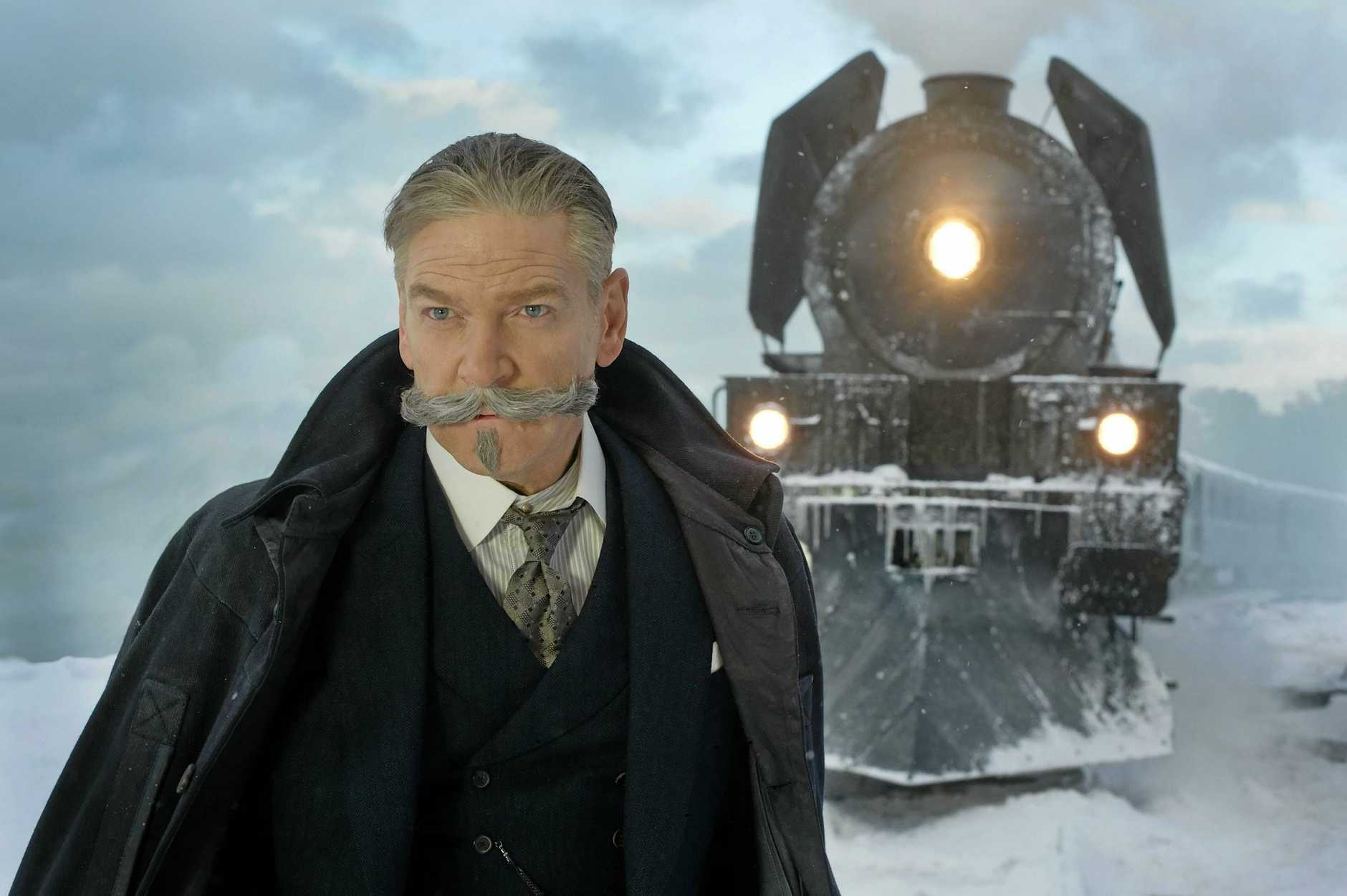 Kenneth Branagh stars as Hercule Poirot in the movie Murder on the Orient Express.