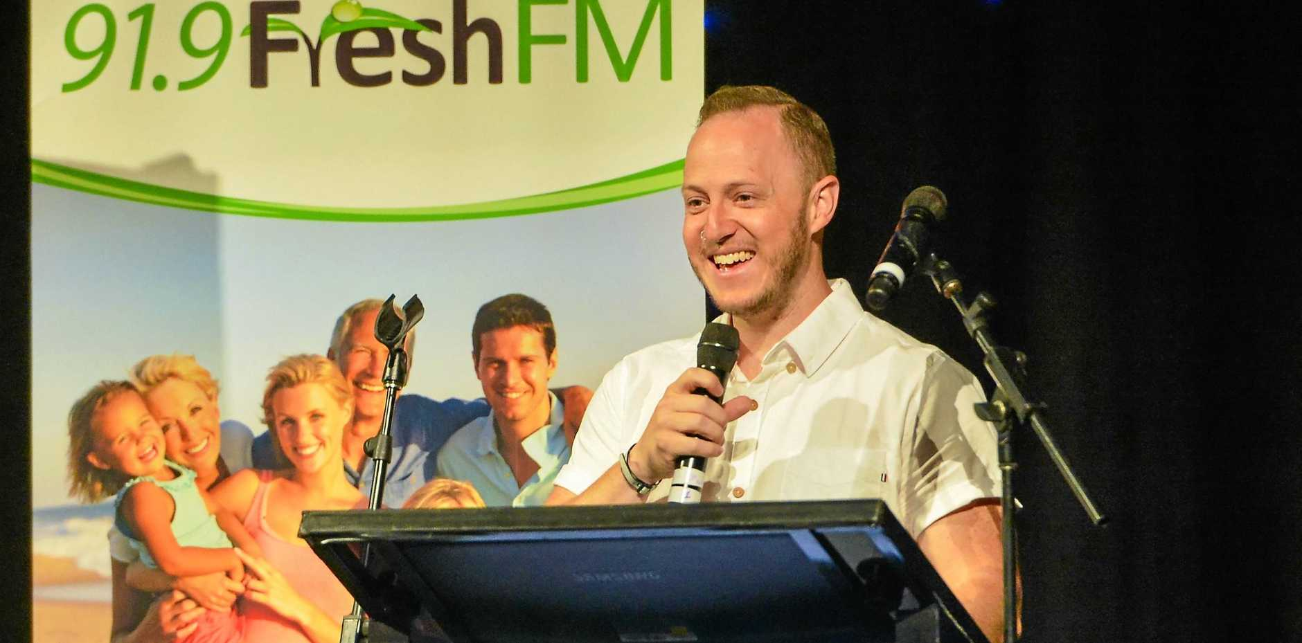Speaker Josh Hawkins speaks at the 2017 Mayoral Care Breakfast, hosted by 91.9 Fresh FM at Gladstone Entertainment and Convention Centre, 3 November 2017.