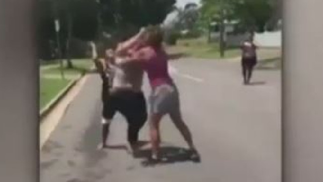 The violence scenes show the women throwing punch after punch at each other. Picture: 7 News