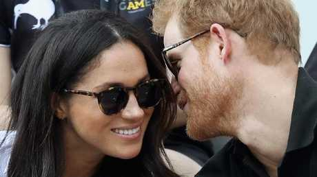 Prince Harry and Meghan Markle at a Wheelchair Tennis match during the Invictus Games in Toronto last month. Picture: Getty